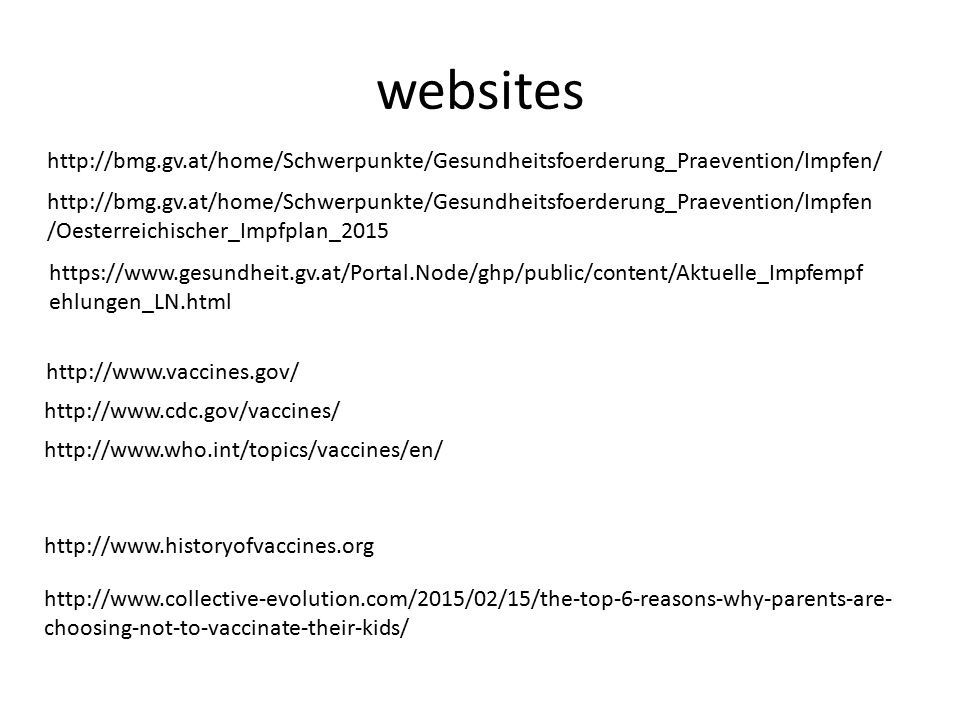 websites http://bmg.gv.at/home/Schwerpunkte/Gesundheitsfoerderung_Praevention/Impfen/