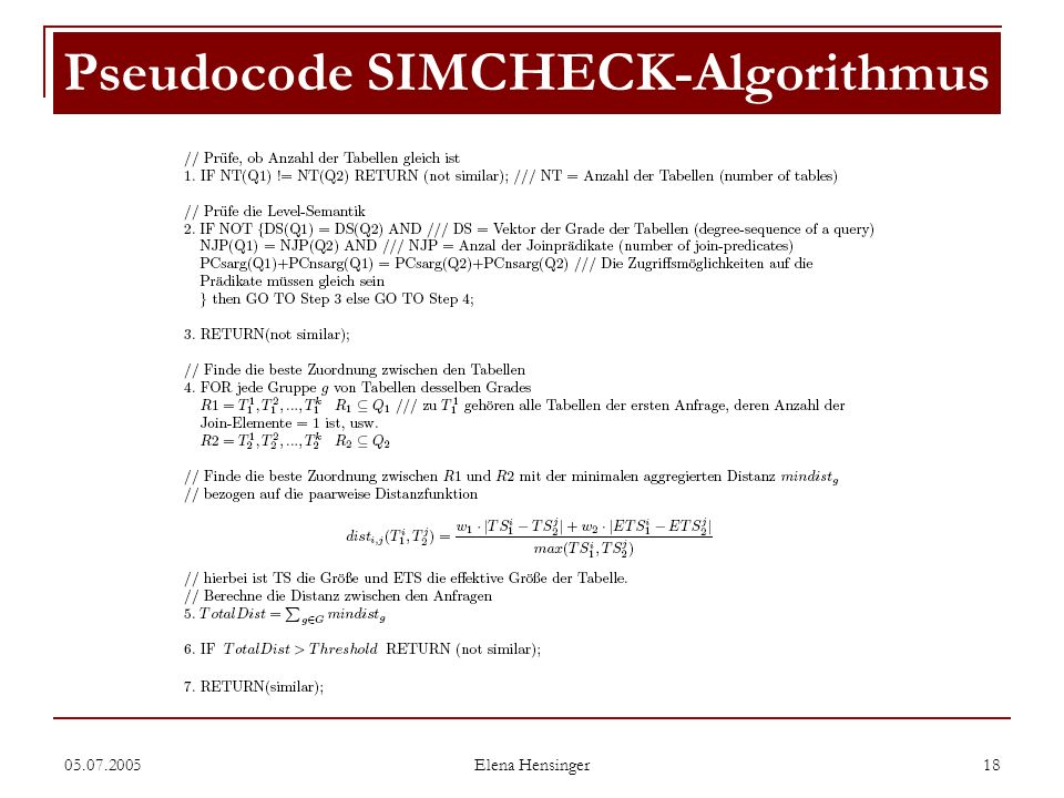 Pseudocode SIMCHECK-Algorithmus