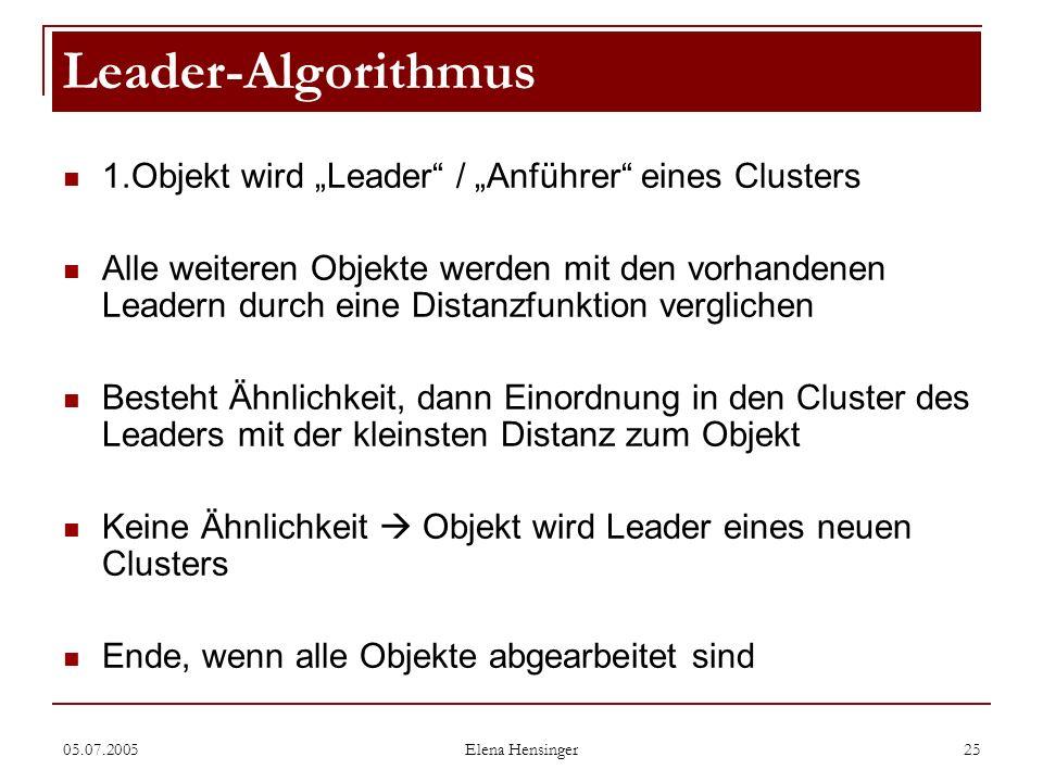 """Leader-Algorithmus 1.Objekt wird """"Leader / """"Anführer eines Clusters"""