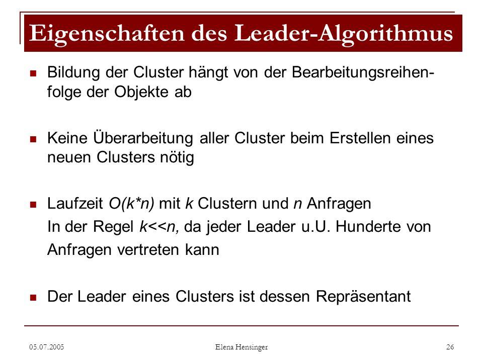 Eigenschaften des Leader-Algorithmus