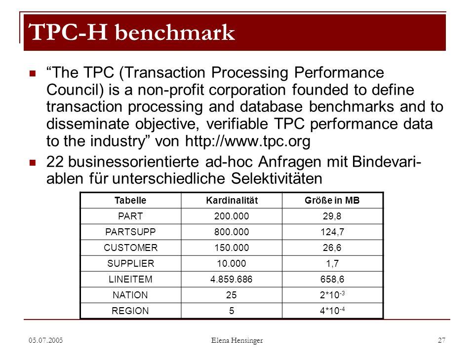 TPC-H benchmark