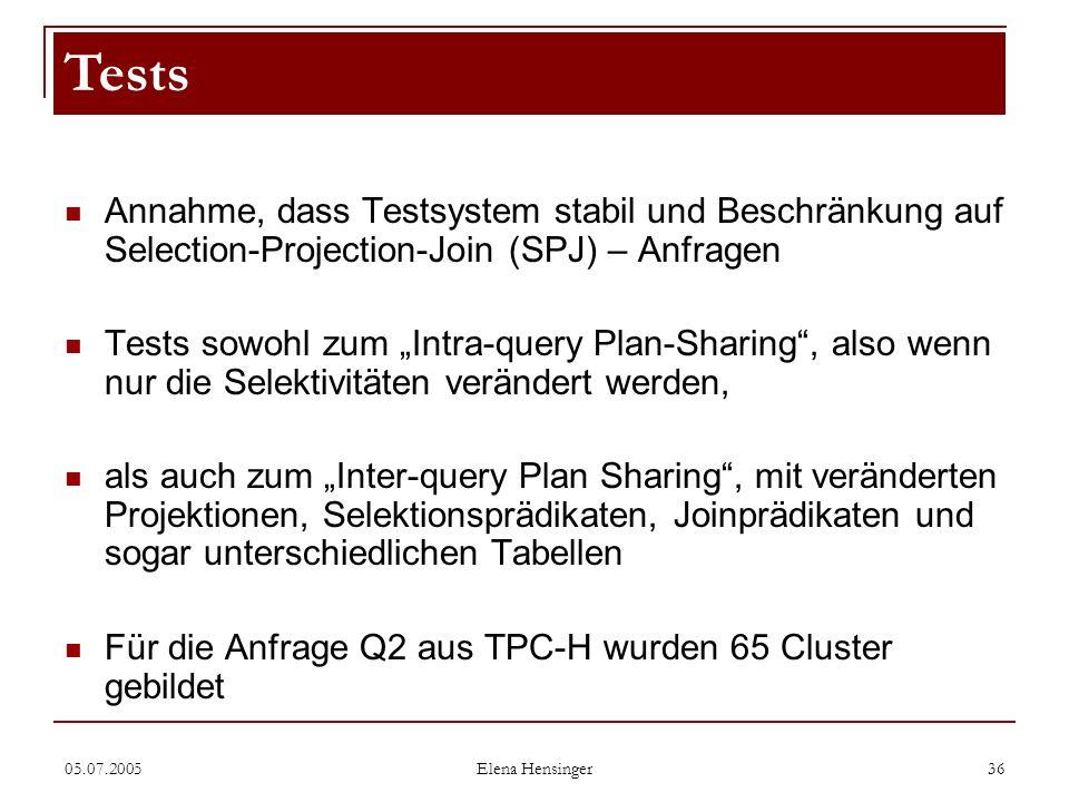 Tests Annahme, dass Testsystem stabil und Beschränkung auf Selection-Projection-Join (SPJ) – Anfragen.