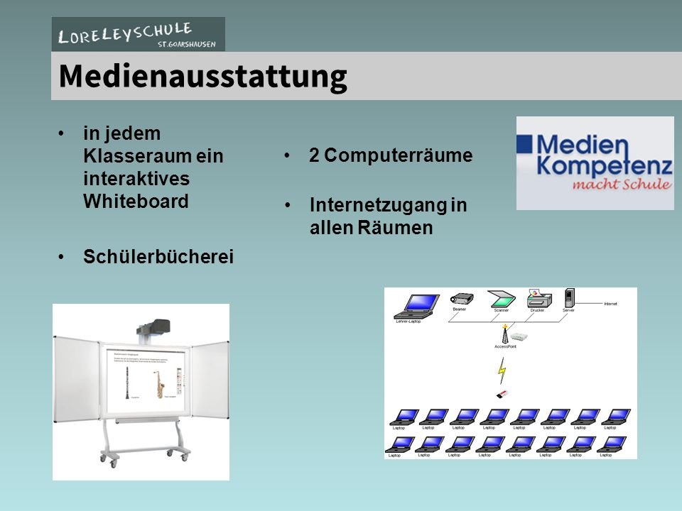Medienausstattung 2 Computerlabore / Laptopeinsatz