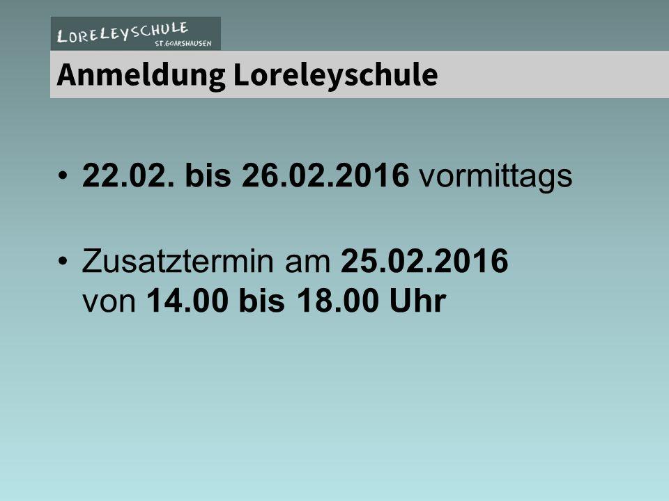 Anmeldung Loreleyschule