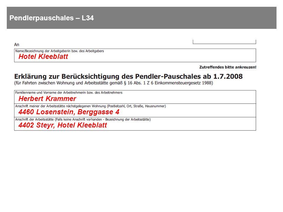 Pendlerpauschales – L34 Hotel Kleeblatt. Herbert Krammer.