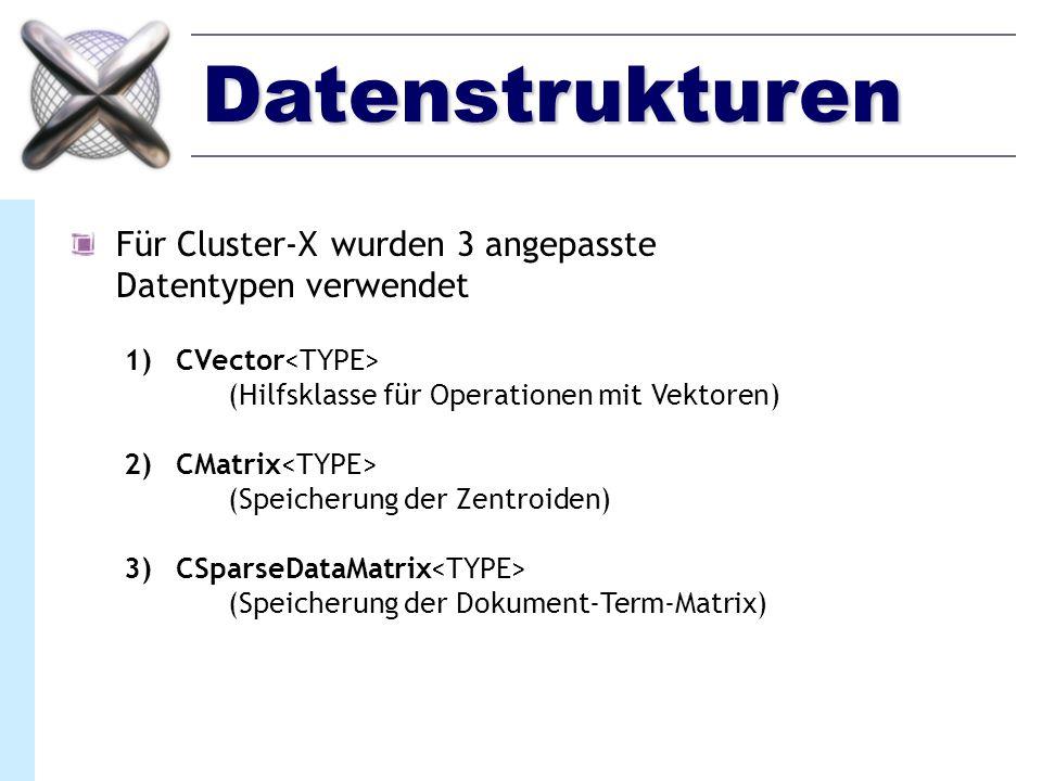 Datenstrukturen Für Cluster-X wurden 3 angepasste Datentypen verwendet