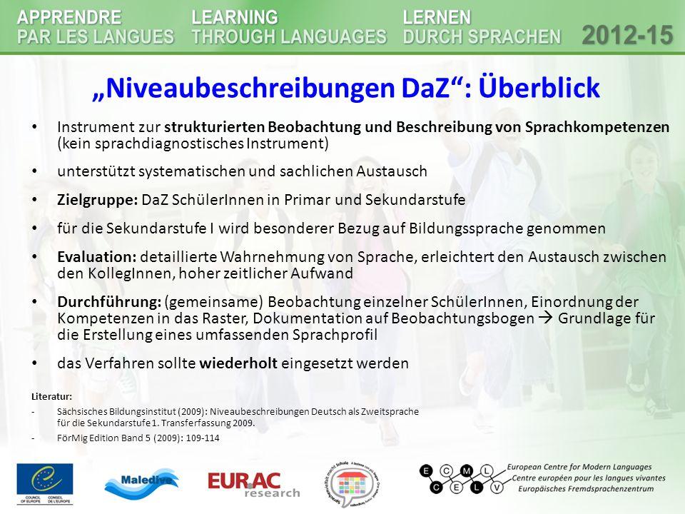 """""""Niveaubeschreibungen DaZ : Überblick"""