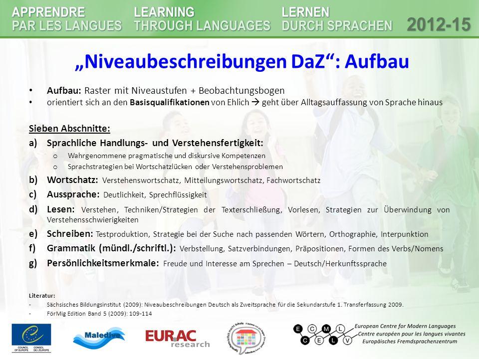 """""""Niveaubeschreibungen DaZ : Aufbau"""