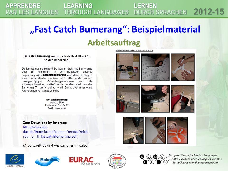 """""""Fast Catch Bumerang : Beispielmaterial"""