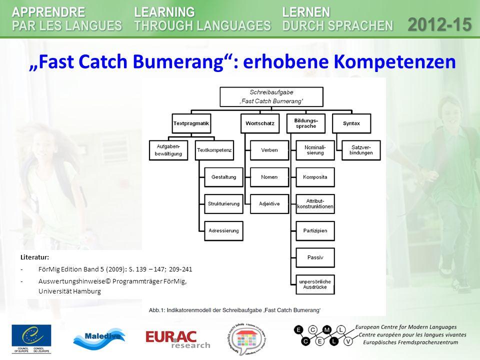 """Fast Catch Bumerang : erhobene Kompetenzen"