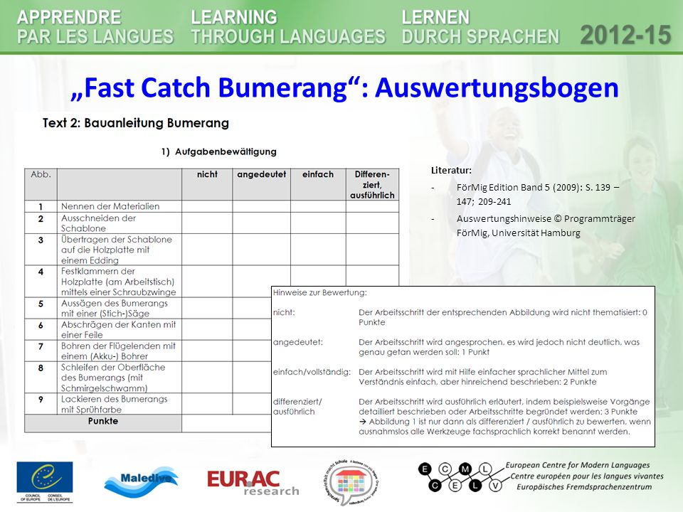 """Fast Catch Bumerang : Auswertungsbogen"