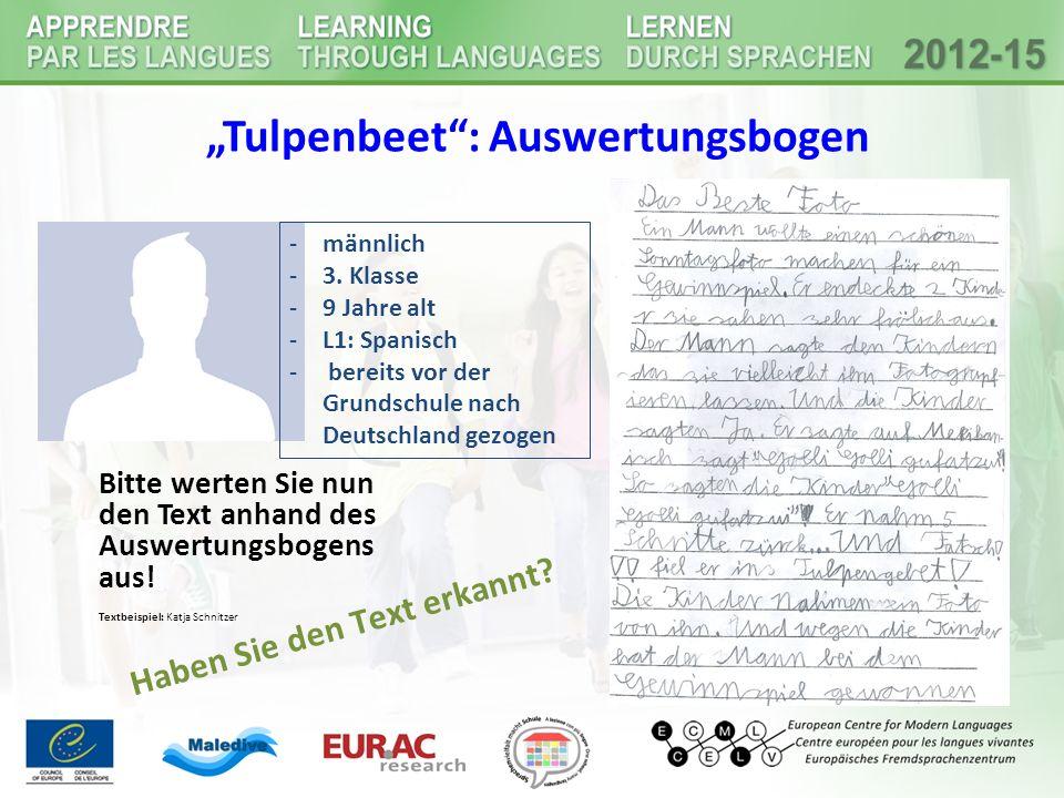 """""""Tulpenbeet : Auswertungsbogen"""