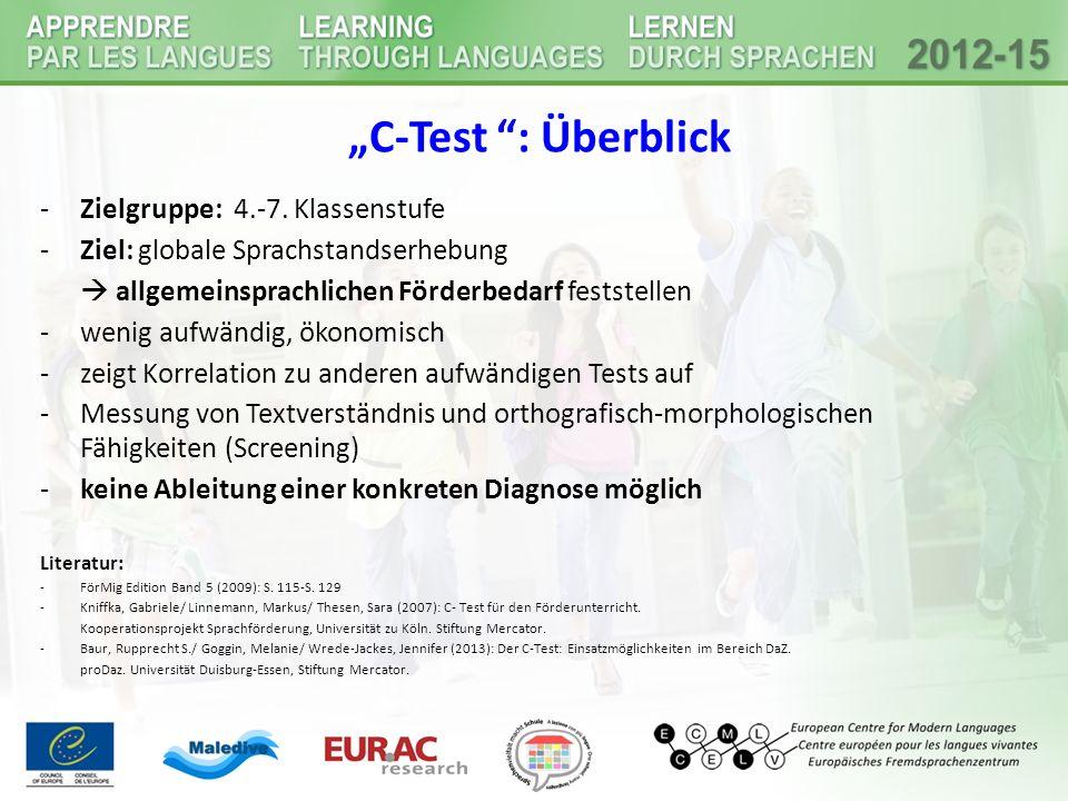 """""""C-Test : Überblick Zielgruppe: 4.-7. Klassenstufe"""