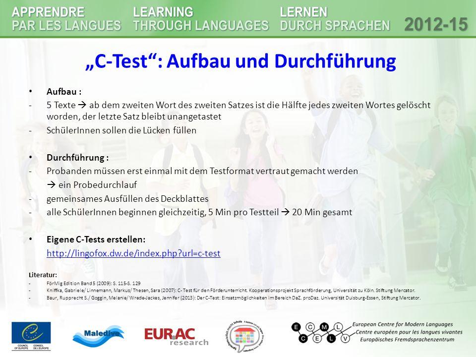 """""""C-Test : Aufbau und Durchführung"""