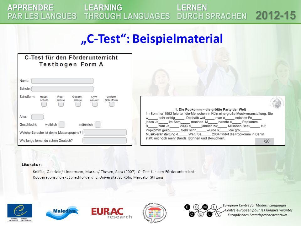 """""""C-Test : Beispielmaterial"""