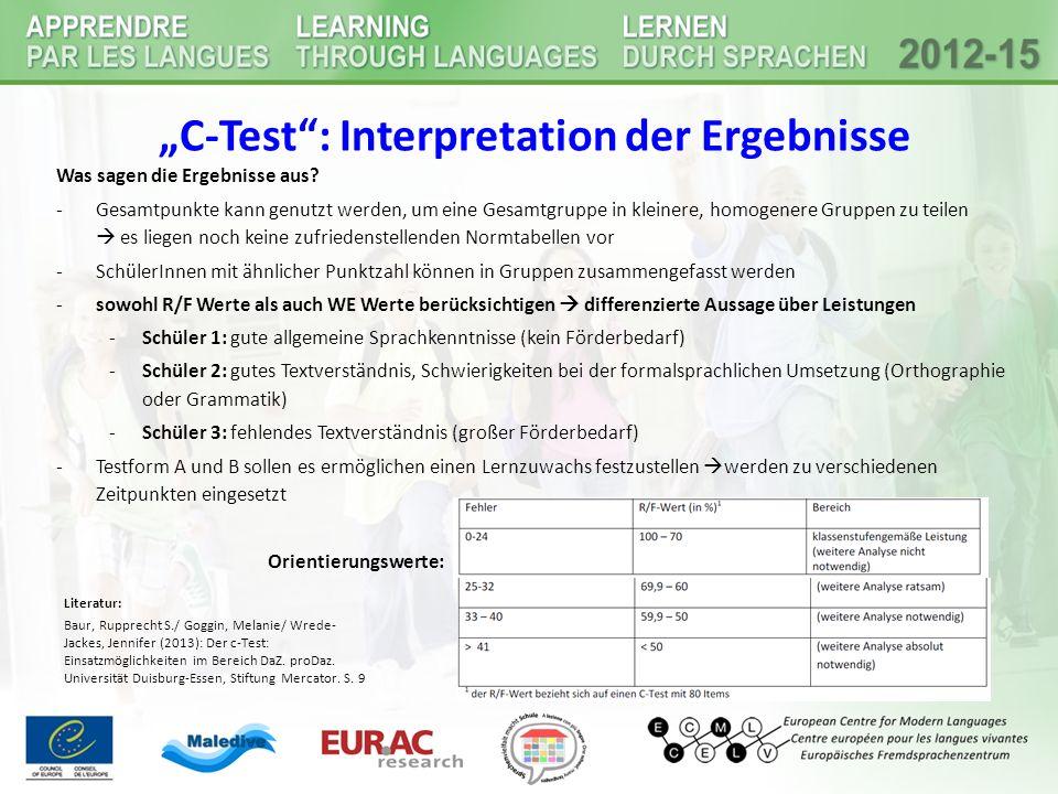 """""""C-Test : Interpretation der Ergebnisse"""