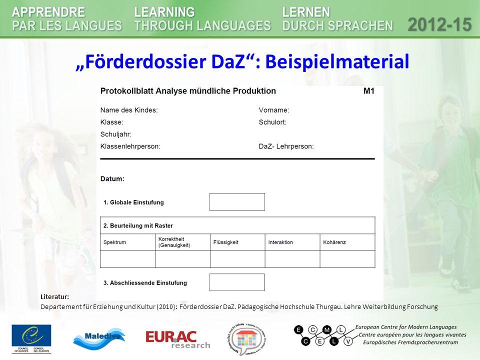 """""""Förderdossier DaZ : Beispielmaterial"""