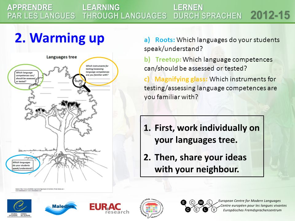 2. Warming up First, work individually on your languages tree.