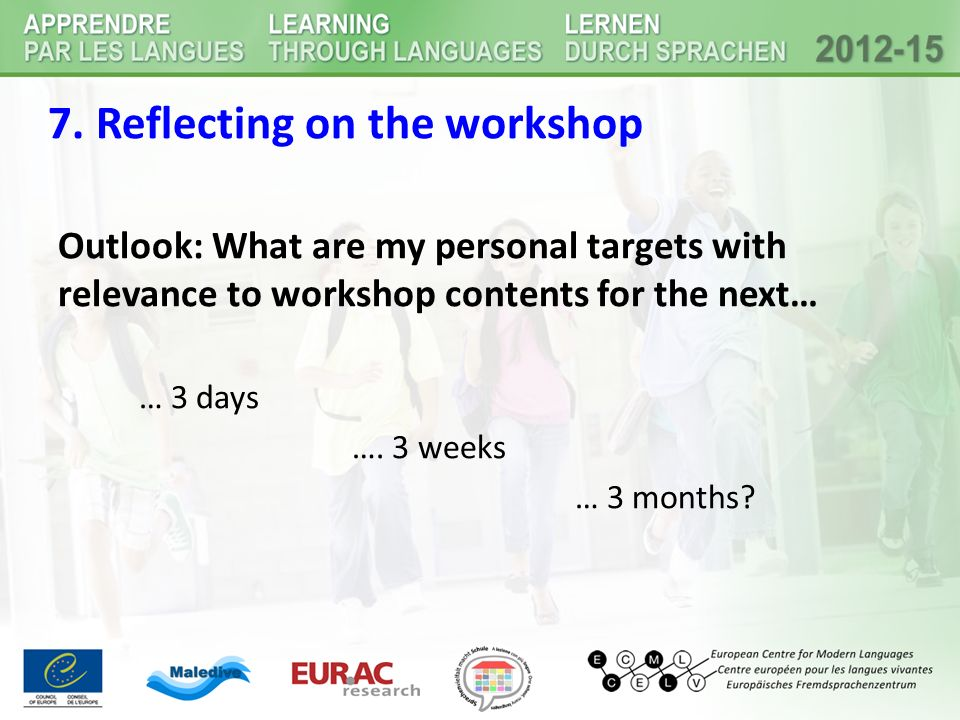7. Reflecting on the workshop