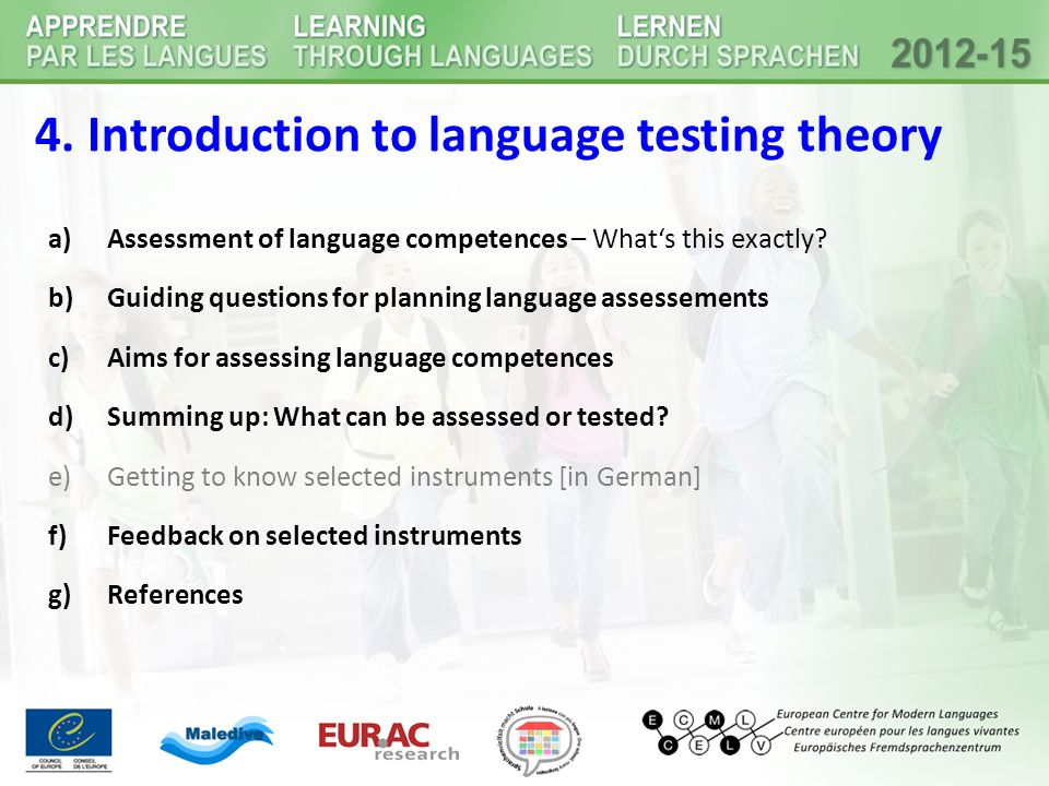 4. Introduction to language testing theory