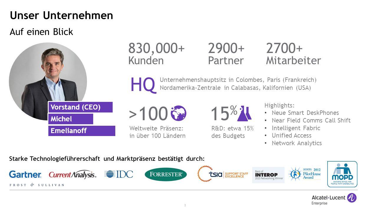 HQ >100 15% 2900+ 830,000+ 2700+ Unser Unternehmen Partner Kunden