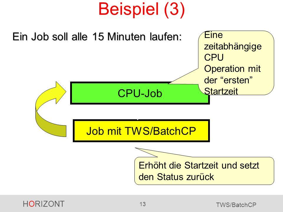 Beispiel (3) Ein Job soll alle 15 Minuten laufen: CPU-Job
