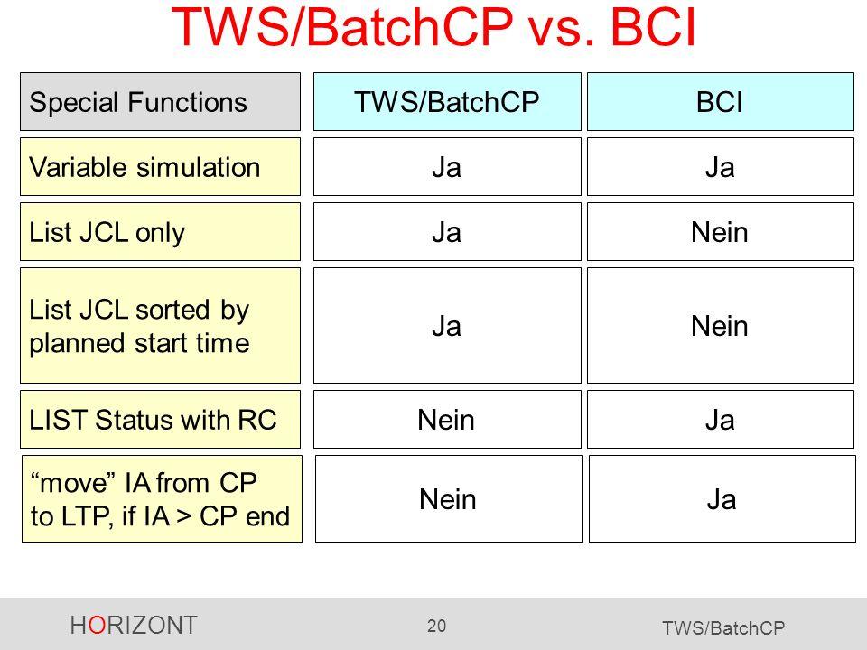 TWS/BatchCP vs. BCI TWS/BatchCP BCI Ja Ja Ja Nein Ja Nein Nein Ja Nein