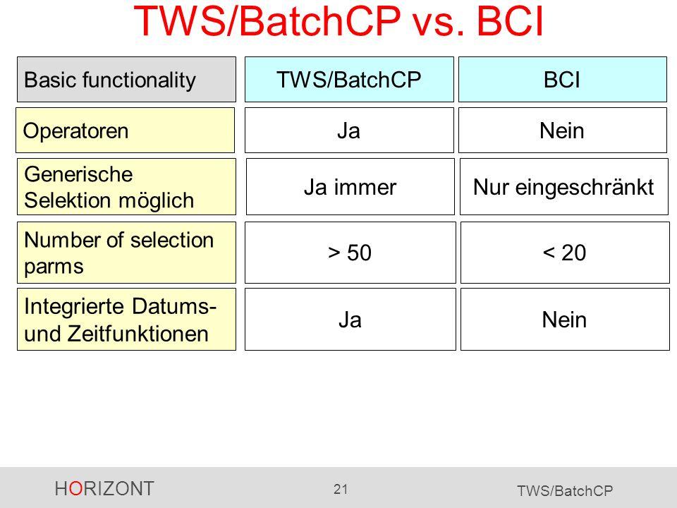 TWS/BatchCP vs. BCI TWS/BatchCP BCI Ja Nein Ja immer Nur eingeschränkt