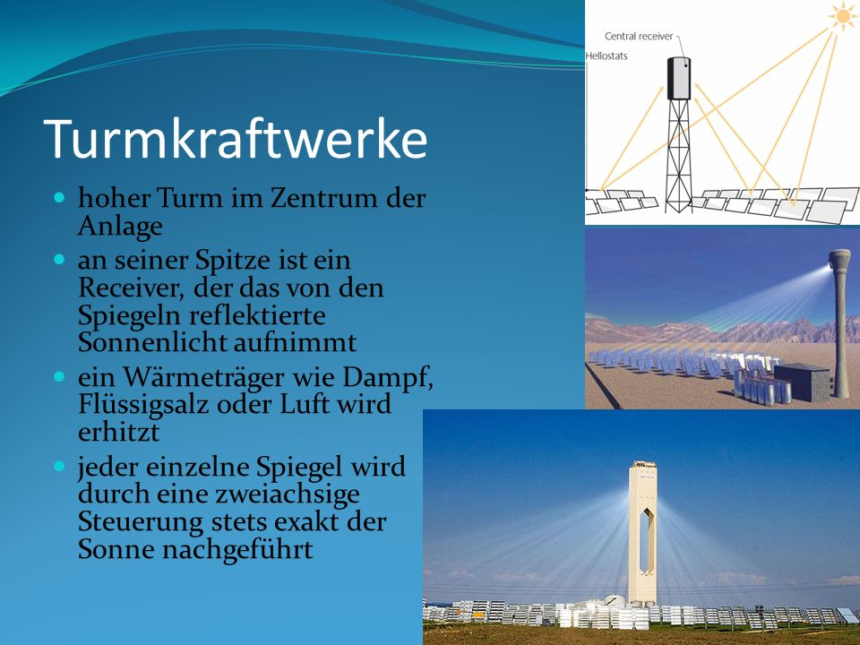 Turmkraftwerke hoher Turm im Zentrum der Anlage