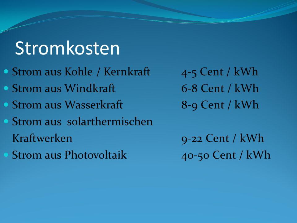 Stromkosten Strom aus Kohle / Kernkraft 4-5 Cent / kWh