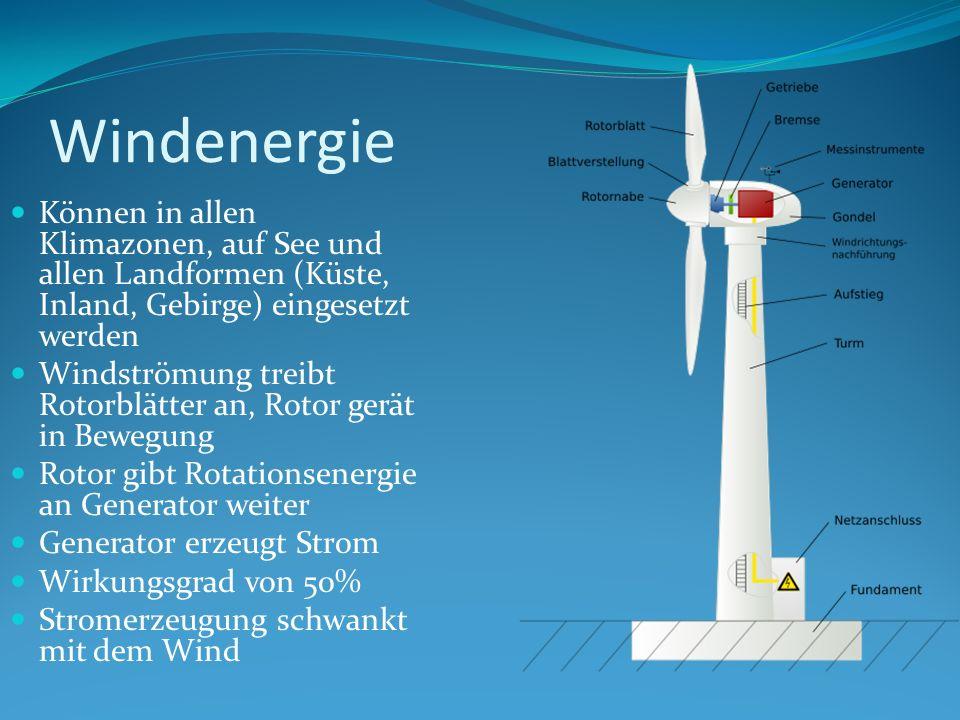 WindenergieKönnen in allen Klimazonen, auf See und allen Landformen (Küste, Inland, Gebirge) eingesetzt werden.