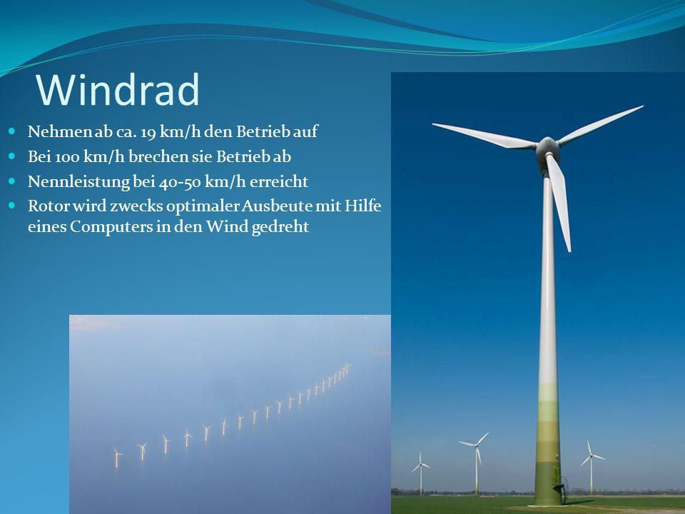 Windrad Nehmen ab ca. 19 km/h den Betrieb auf