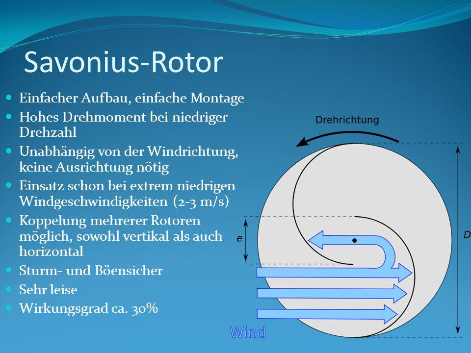 Savonius-Rotor Einfacher Aufbau, einfache Montage