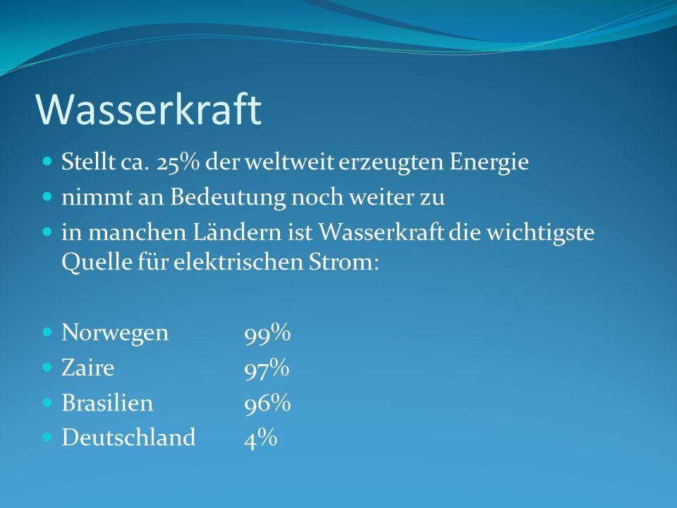 Wasserkraft Stellt ca. 25% der weltweit erzeugten Energie