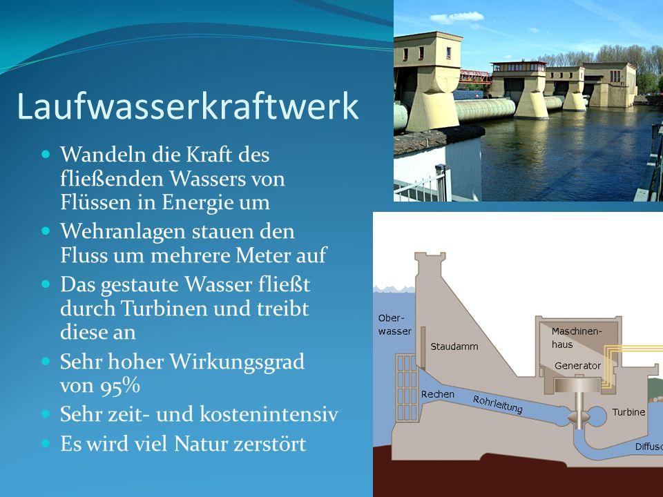 LaufwasserkraftwerkWandeln die Kraft des fließenden Wassers von Flüssen in Energie um. Wehranlagen stauen den Fluss um mehrere Meter auf.