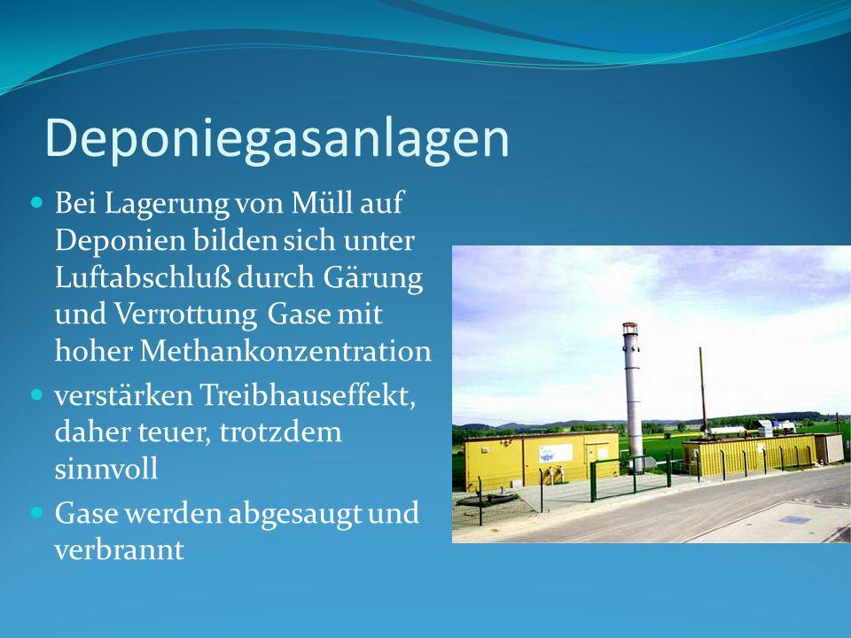 DeponiegasanlagenBei Lagerung von Müll auf Deponien bilden sich unter Luftabschluß durch Gärung und Verrottung Gase mit hoher Methankonzentration.