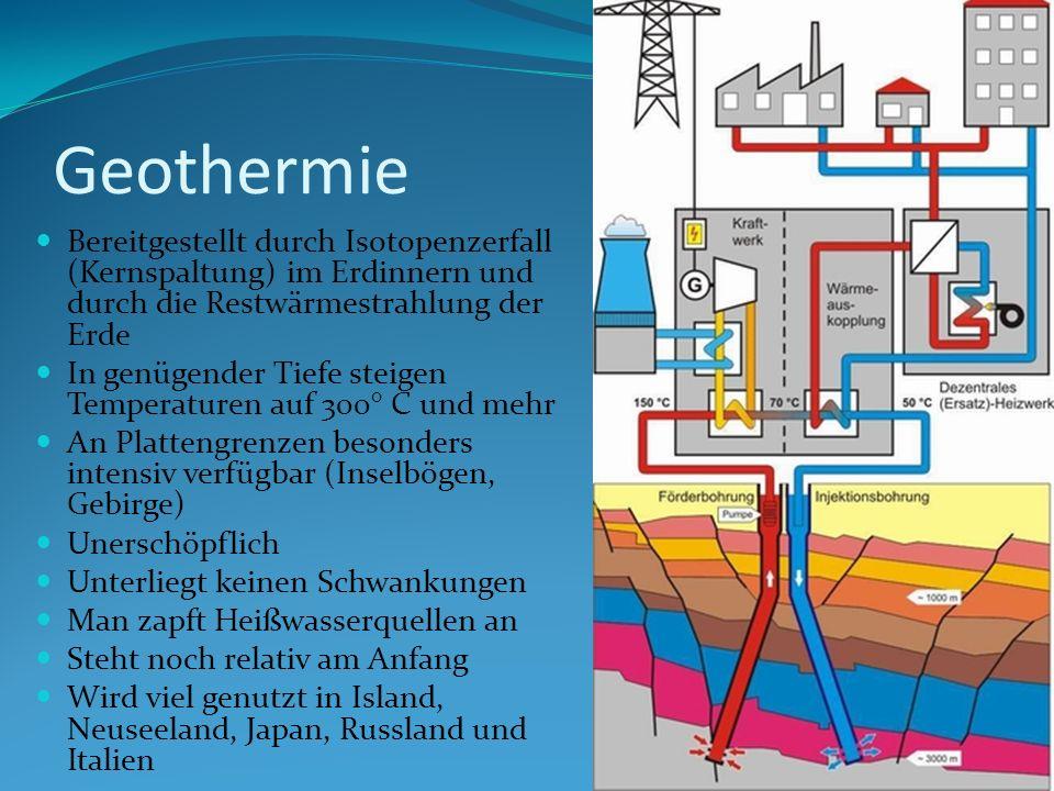 Geothermie Bereitgestellt durch Isotopenzerfall (Kernspaltung) im Erdinnern und durch die Restwärmestrahlung der Erde.