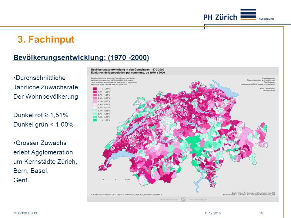 3. Fachinput Bevölkerungsentwicklung: (1970 -2000) Durchschnittliche