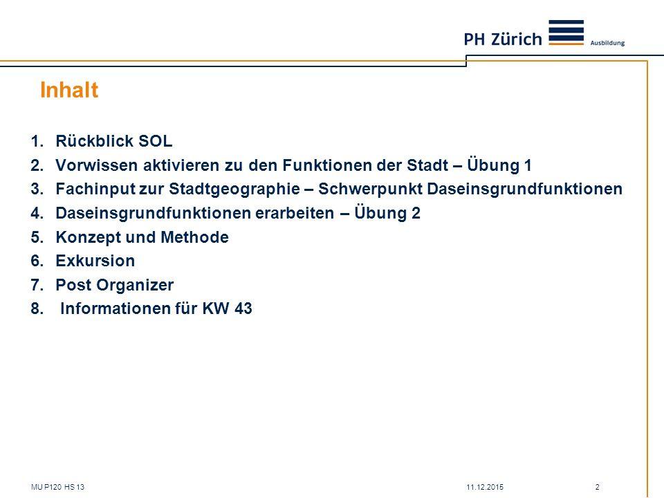 Inhalt Rückblick SOL. Vorwissen aktivieren zu den Funktionen der Stadt – Übung 1.