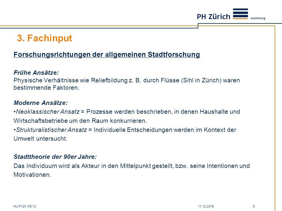 3. Fachinput Forschungsrichtungen der allgemeinen Stadtforschung