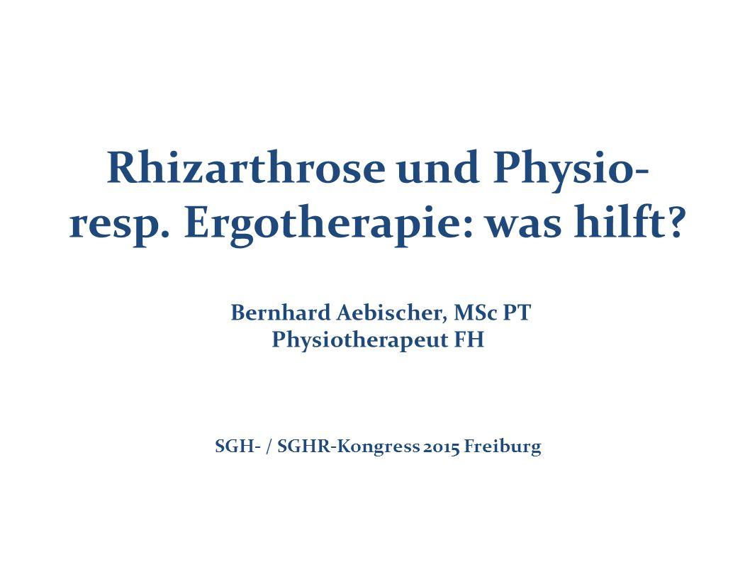 Rhizarthrose und Physio- resp. Ergotherapie: was hilft