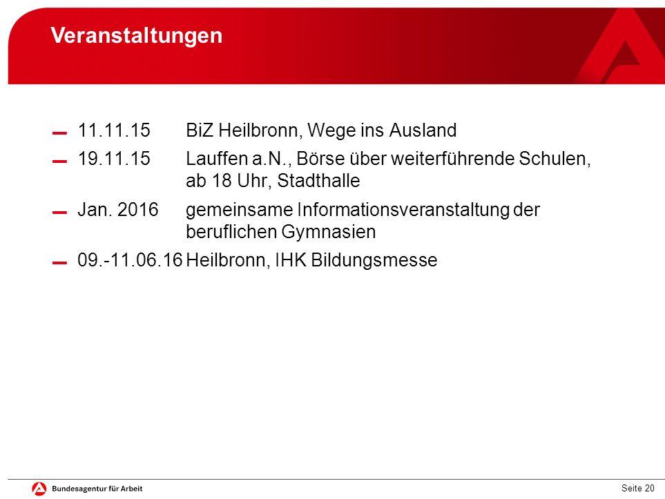 Veranstaltungen 11.11.15 BiZ Heilbronn, Wege ins Ausland