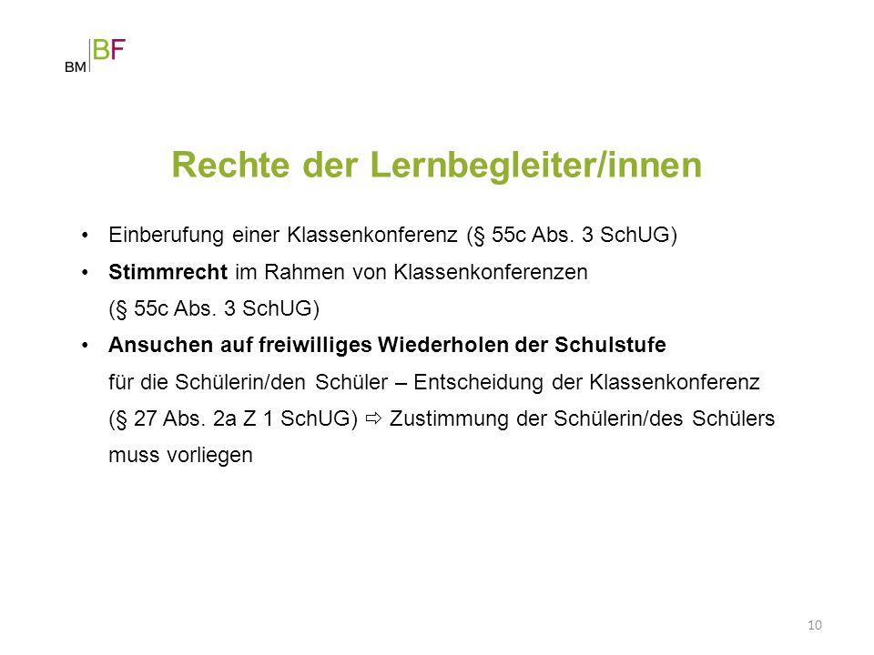 Rechte der Lernbegleiter/innen