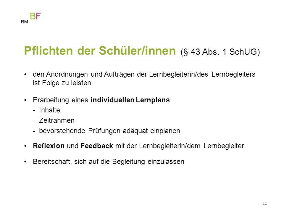 Pflichten der Schüler/innen (§ 43 Abs. 1 SchUG)