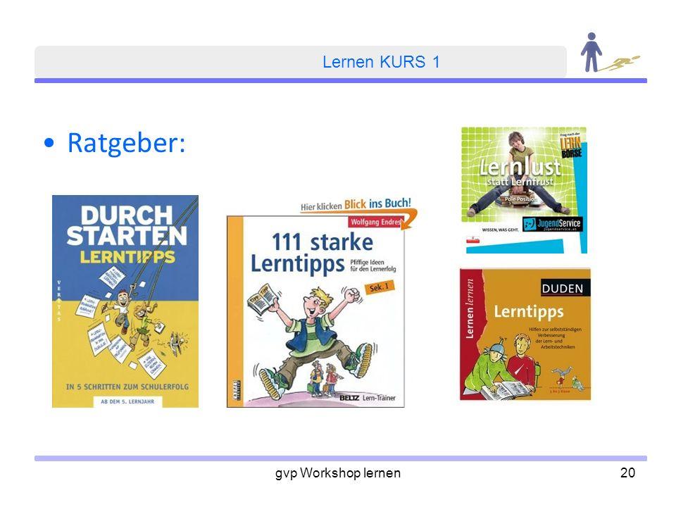 Lernen KURS 1 Ratgeber: gvp Workshop lernen