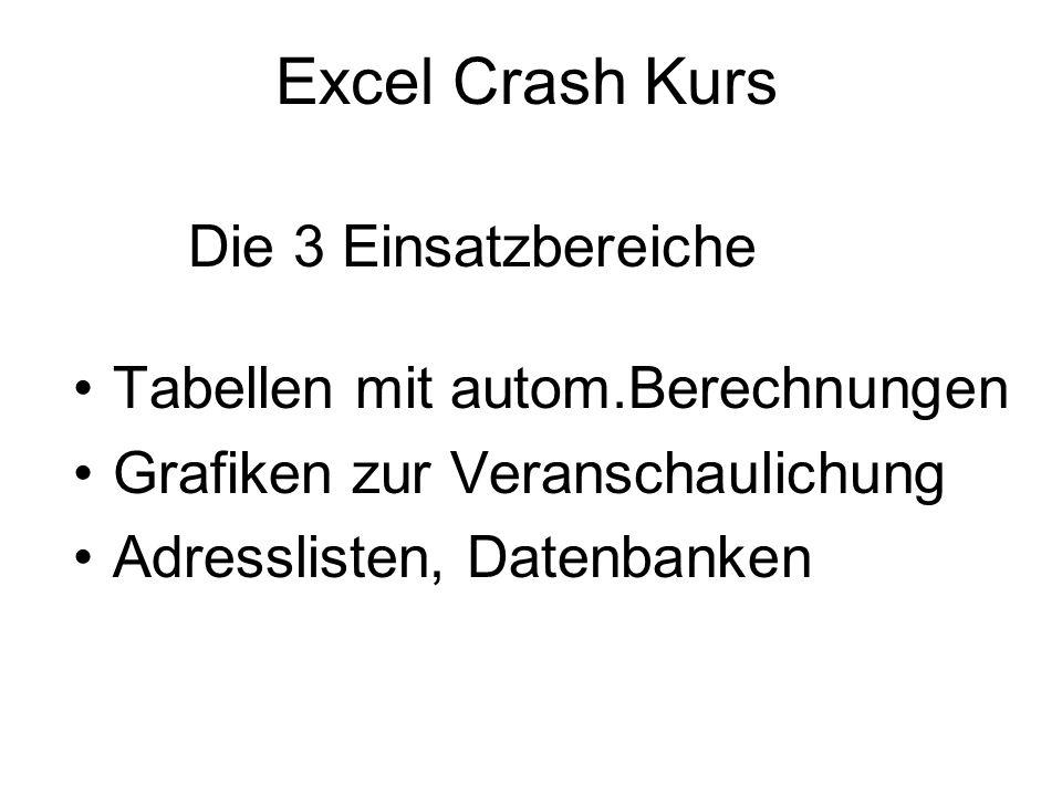 Excel Crash Kurs Die 3 Einsatzbereiche Tabellen mit autom.Berechnungen