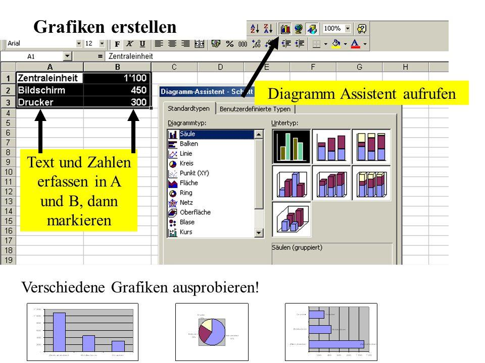 Grafiken erstellen Diagramm Assistent aufrufen