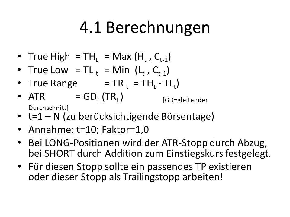 4.1 Berechnungen True High = THt = Max (Ht , Ct-1)