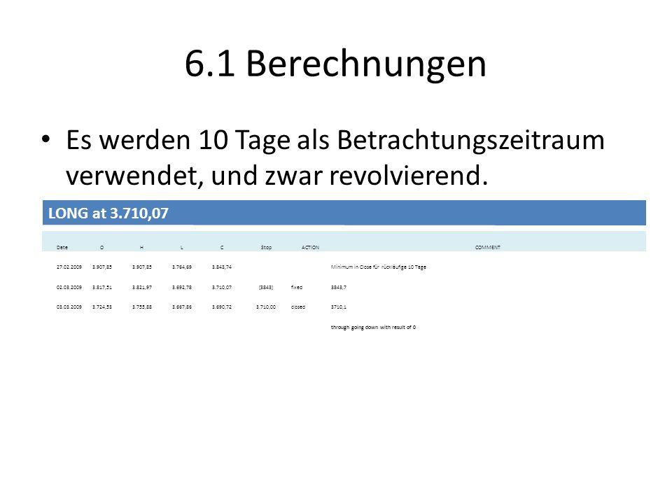 6.1 Berechnungen Es werden 10 Tage als Betrachtungszeitraum verwendet, und zwar revolvierend. berücksichtigt.