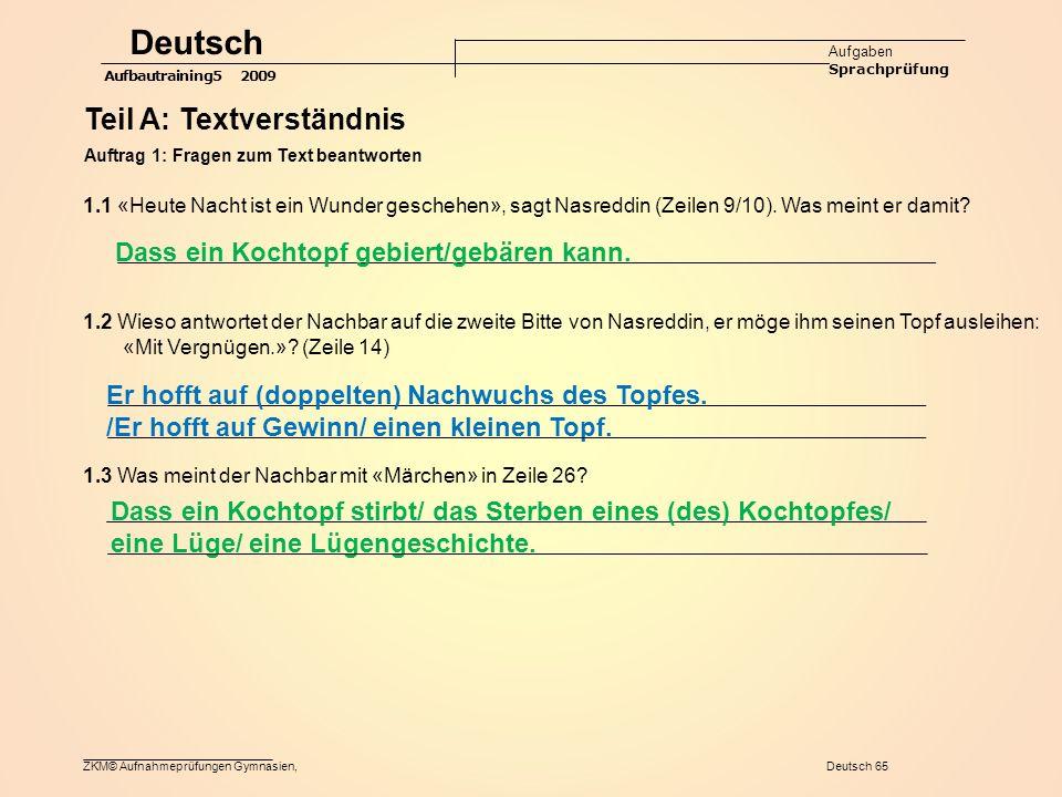 Deutsch Teil A: Textverständnis